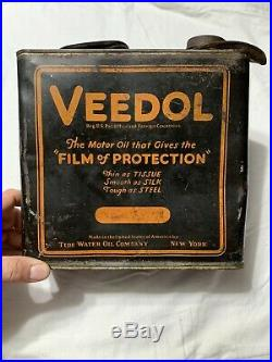 Early Vintage Original Veedol Tide Water Oil NY One Gallon Oil Can Automobile