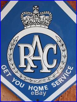 Exc Con Rac Old Antique Vintage Enamel Advertising Sign Automobile New Old Stock