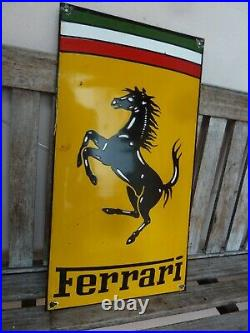 FERRARI Porcelain Sign Advertising Vintage Service 21 Domed Italy Garage Heavy