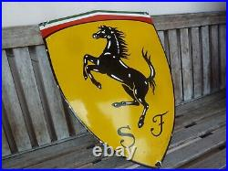 FERRARI Porcelain Sign Advertising Vintage Service 24 Domed Italy Garage Heavy