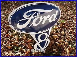 FORD Logo Porcelain Sign Vintage Car Advertising 24 Domed Old Garage US Shield