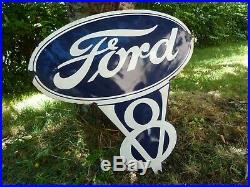 FORD V8 Porcelain Sign Vintage Car Advertising 24 Domed Logo Old V8 Garage USA
