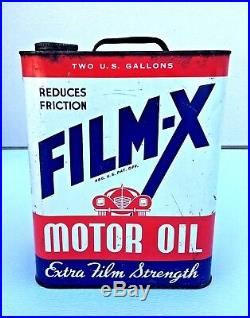 Film-X Motor Oil Can 2 Gallon Apex Oil Products Co Car Metal Red Vintage Empty