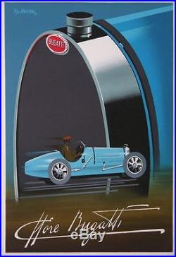 Fix Masseau Bugatti Ettore Vintage Race Car Lithography Poster 1989