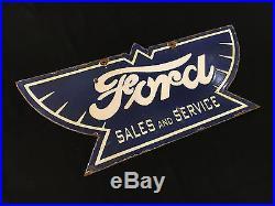 Ford Sales & Service 1940's Vintage Porcelain 2 Sided 24 x 11 Enamel sign