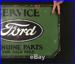 Ford Services Genuine Parts 1940's Vintage Porcelain 2 Sided Enamel sign
