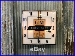 GM Chevrolet Dealership Lighted Pam Clock, Vintage Advertising Sign, GM Parts