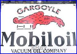 Gargoyle Mobiloil Vacuum Oil Company'vintage' Porcelain Enamel Sign