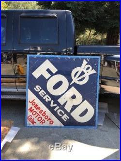Huge Vintage 1940s Tin Not Porcelain Ford Service Sign Antique Jonesboro LA 68