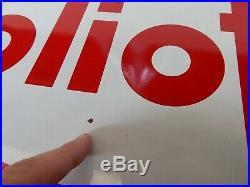 Insegna Originale Vintage Olio Fiat Rifornimento Smaltata Old Sign Porcellain