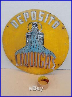 Insegna Vintage In Alluminio Liquigas Epoca Promo Sign Old