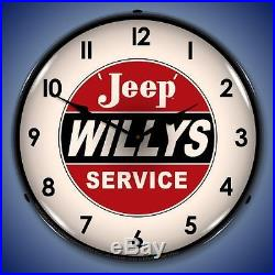 Jeep Willys Service Retro Vintage Style Lighted 14 Wall Clock Garage USA New