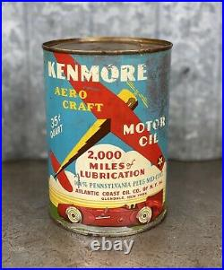 Kenmore Aero Craft Quart Oil Can Vintage Race Car Airplane Atlantic Coast
