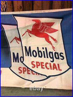 LARGE VinTagE Original MOBIL MOBILGAS Canvas BANNER Sign Gas Oil Car OLD Mancave