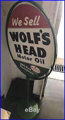 LARGE Vintage 1960 Wolfs Head Motor Oil ORIGINAL Car STORE DISPLAY Metal SIGN