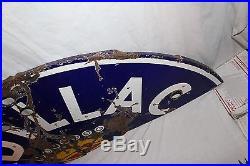 Large Vintage 1940's Cadillac Car Dealer Gas Oil 58 Neon Porcelain Metal Sign