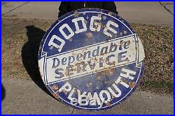 Large Vintage 1940's Dodge Plymouth Gas Oil 2 Sided 42 Porcelain Metal Sign