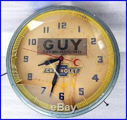 Large Vintage Lackner Chevrolet Dealer Neon Wall Clock c1949 Original Chevy