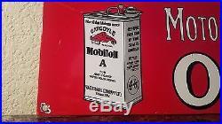 Mobil Vacuum Gargoyle Gasoline 12 X 8 Vintage Porcelain Motor Car Oil Mobiloil