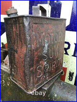 Motor Sun Spirit Two Gallon Petrol Fuel Can Rare Advertising Can Vintage Tin