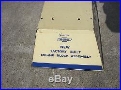 NOS VINTAGE CHEVROLET 1936-1946 ENGINE BLOCK DISPLAY STAND Dealer Sign Banner