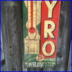OLD ORIGINAL VINTAGE SUPER PYRO ANTI-FREEZE sign ADVERTISING GAS PUMP OIL CAR