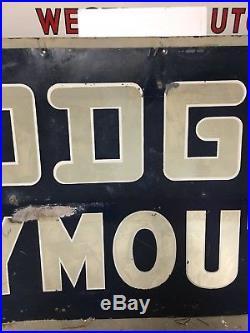 ORIGINAL 1951 DODGE PLYMOUTH Sign REFLECTIVE Vintage OLD Car Truck REFLECTIVE