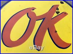 ORIGINAL VinTaGe OK Chevrolet Used Cars & Trucks 60 PORCELAIN BUTTON Sign OLD