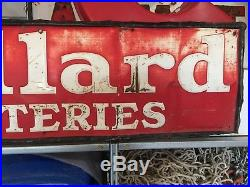 ORIGINAL VinTagE'59 WILLARD BATTERIES Sign Gas Oil Station OLD Car Truck PATINA