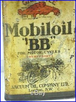 Old Garage Vintage Advertising Tin Vintage Motor Cycle Oil Can Mobiloil BB