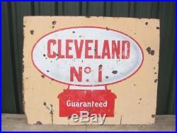 Old Vintage Garage Enamel Sign Car Oil Globe Tin Can Cleveland Petrol Gas Pump
