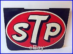 Old Vintage STP Sign Race Car Motor Oil Embossed Metal Gas Station 60s Original
