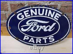 Old vintage GENUINE FORD PARTS Porcelain Advertising sign Oil Gas automobile