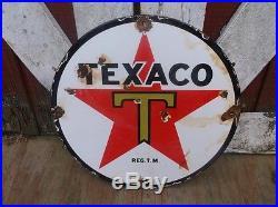 Old vintage TEXACO Porcelain Advertising sign Oil Gas pump automobile