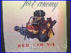 Original 1954 Dodge Motors Banner Advertising Sign Vintage Hot Rod Car Art