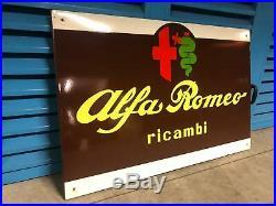 Original ALFA ROMEO Enamel Sign Porcelain Service Vintage 1950s Dealership parts