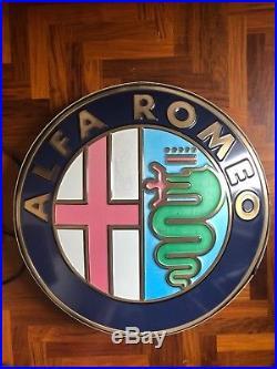 Original ALFA ROMEO Lighted Sign Neon Vintage Service Dealership 1990s Genuine