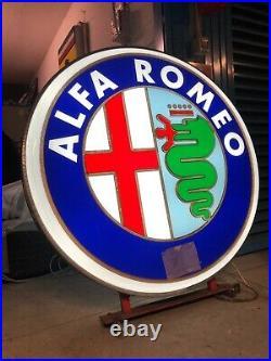 Original ALFA ROMEO Sign Service NOS Vintage 1980's Dealership Logo Neon Lighted