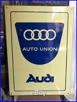 Original AUDI Enamel Sign Porcelain AUTO UNION 1960s Vintage Service Dealership