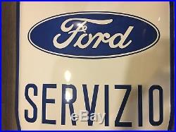 Original FORD Enamel Sign Porcelain Service Shield 1940s Advertising Vintage