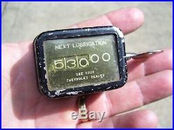 Original GM CHEVROLET 50s dash Oil lube Reminder auto promo vintage dealer Gauge