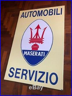 Original MASERATI Enamel Sign Porcelain Service Vintage 1970s Dealership NOS