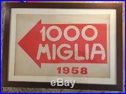 Original Mille Miglia Poster 1958 Vintage Print Racing Race Ferrari Porsche 1000