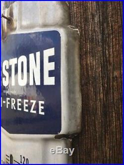 Original Prestone Anti-Freeze Vintage Thermometer Sign Gas Oil Auto Porcelain