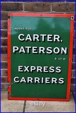 Original Vintage 1930's Advertising Sign Carter, Paterson & Co Ltd Railway
