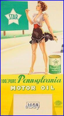 Original Vintage Advertising Poster Calendar for Pennsylvania Car Motor Oil
