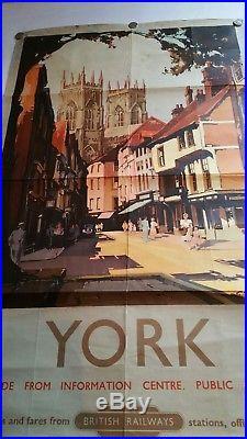 Original Vintage British Rail 1952 York Advertising Poster By Claude Buckle