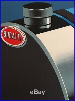 Original Vintage French Car Poster Bugatti by Fix Masseau 1989