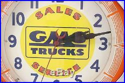 Original Vintage GMC General Motors TRUCKS Sales Service Neon Wall Clock Working