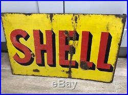 Original Vintage Shell enamel Garage sign